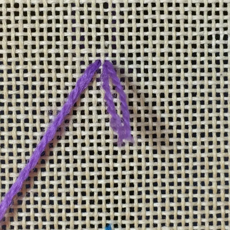 Turkey rug knot method stage 1 photograph