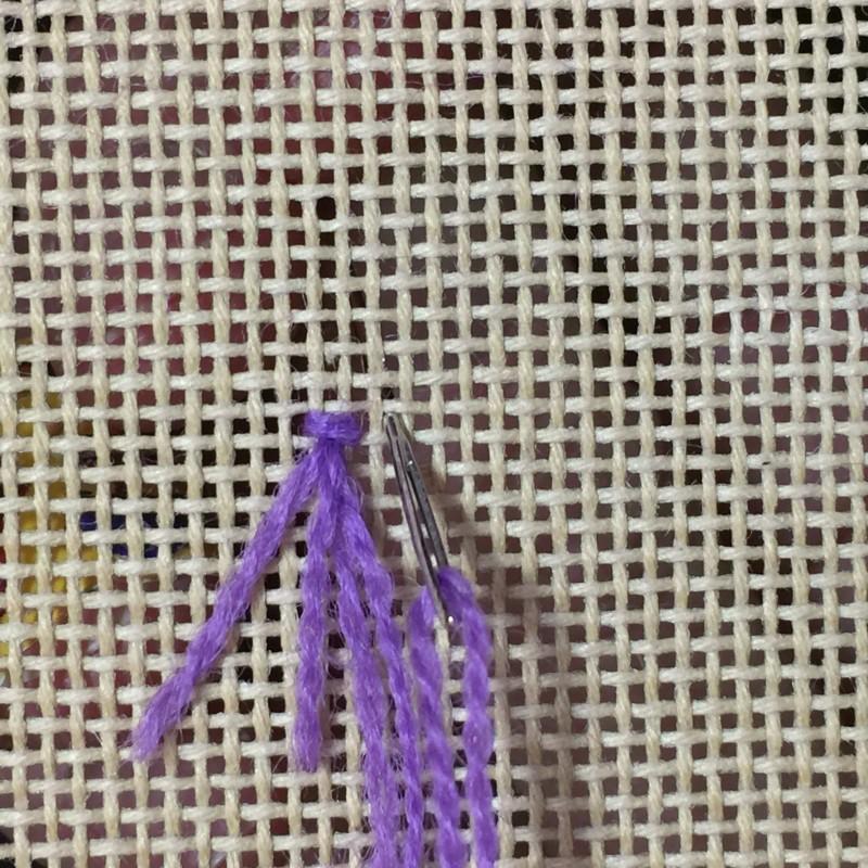 Turkey rug knot method stage 4 photograph