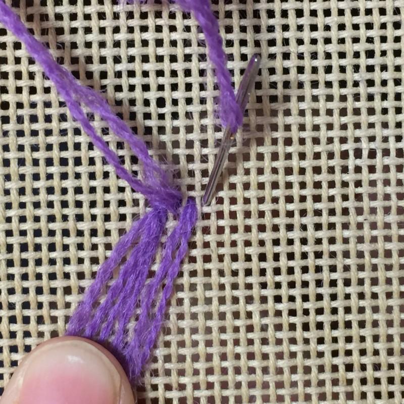 Turkey rug knot method stage 6 photograph