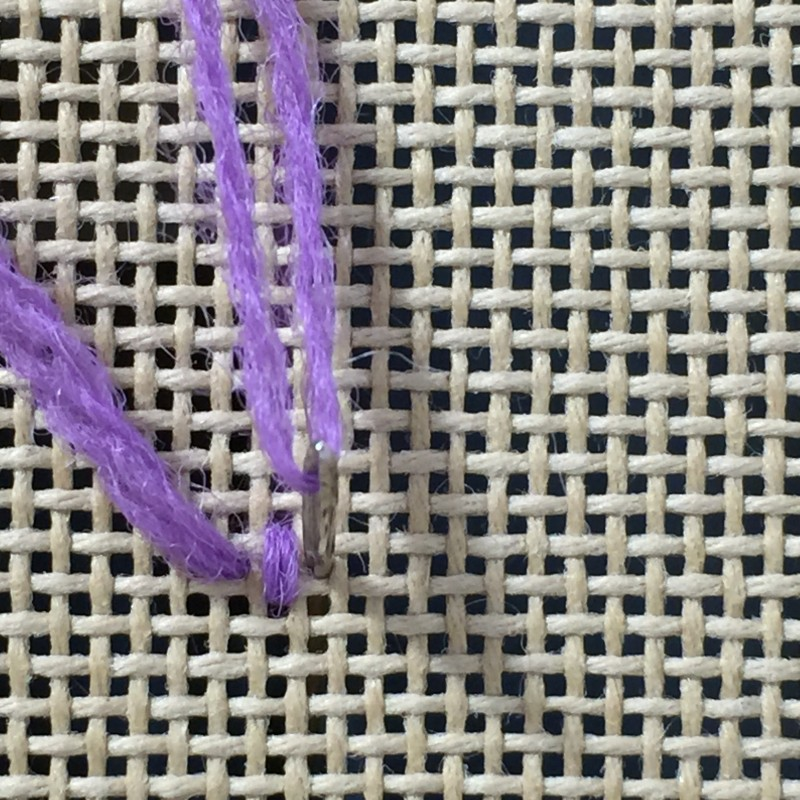 Upright cross stitch method stage 1 photograph