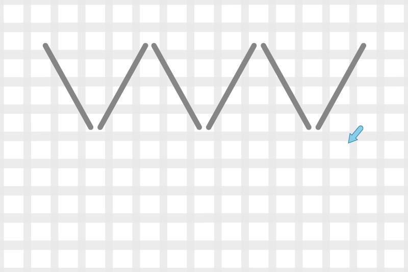 Arrowhead stitch method stage 3 illustration