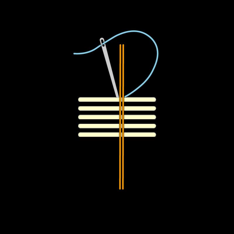 Basketweave (goldwork) method stage 1 illustration