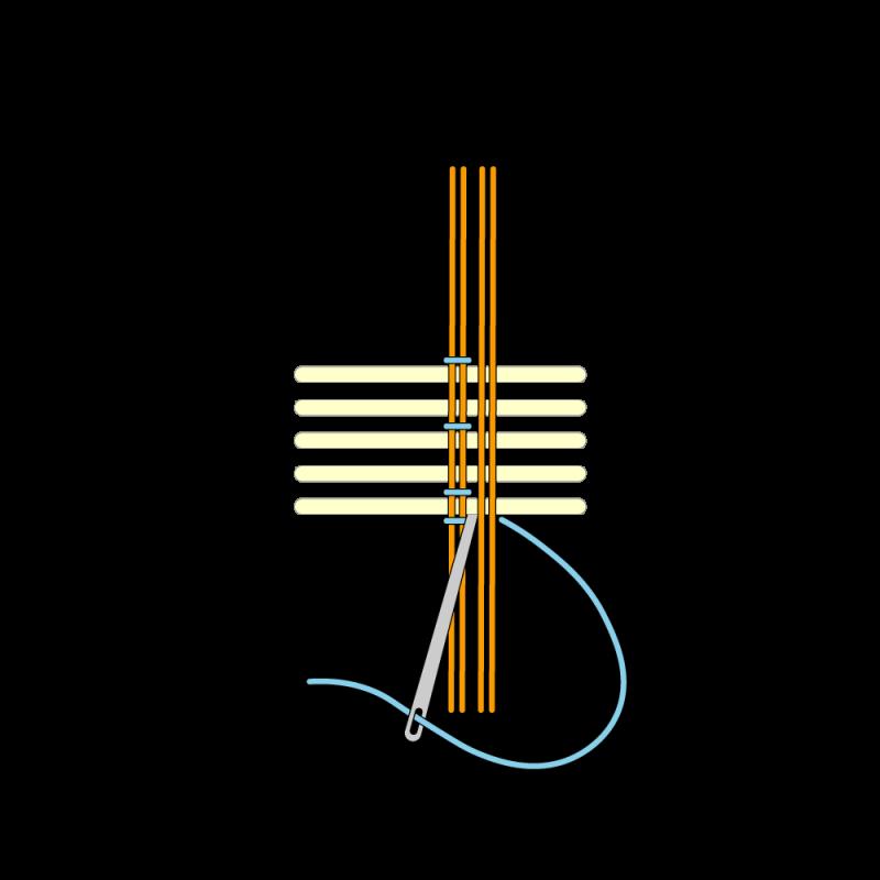 Basketweave (goldwork) method stage 6 illustration