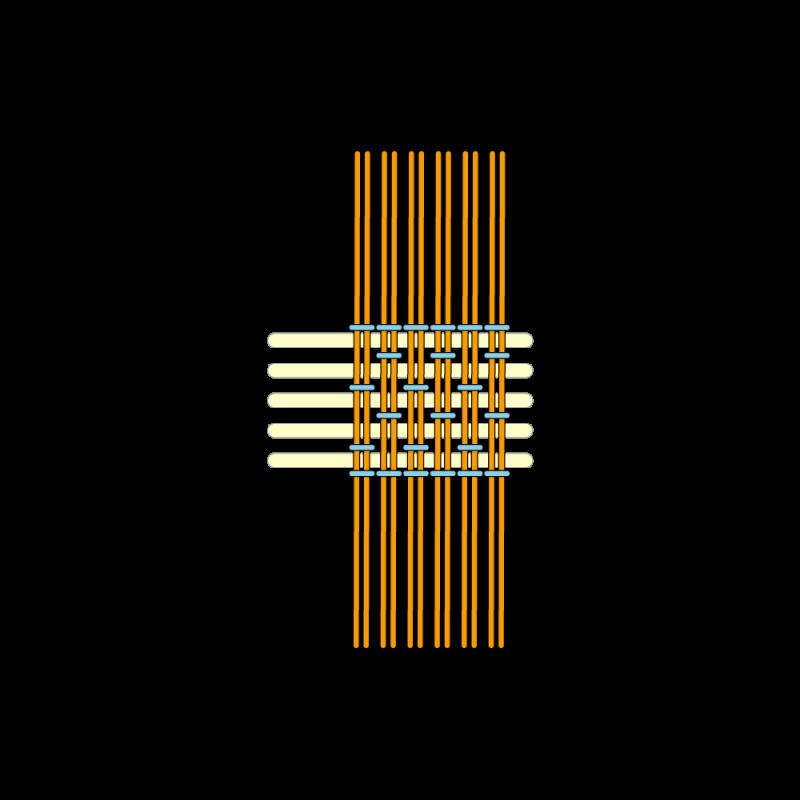 Basketweave (goldwork) method stage 8 illustration