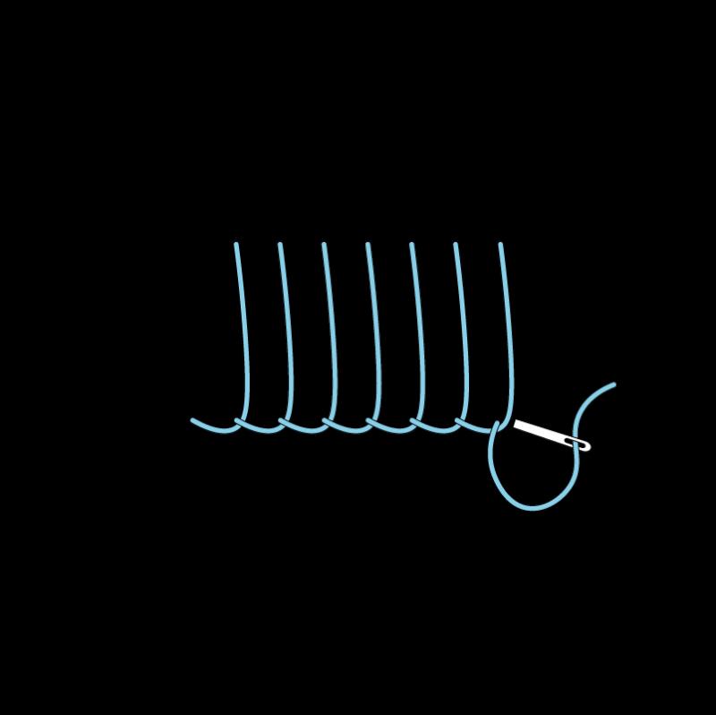 Blanket stitch method stage 7 illustration