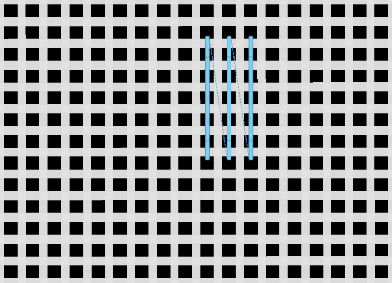 Broad cross stitch method stage 1 illustration