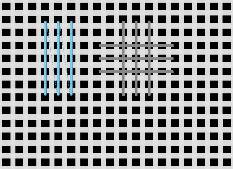 Broad cross stitch method stage 3 illustration