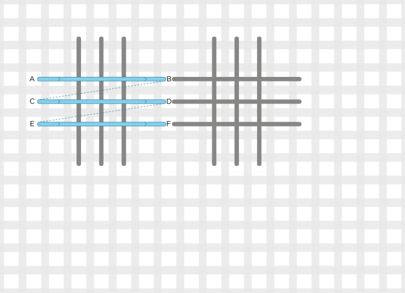 Broad cross stitch method stage 4 illustration