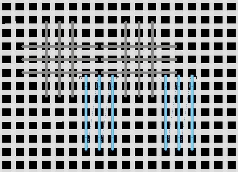 Broad cross stitch method stage 5 illustration