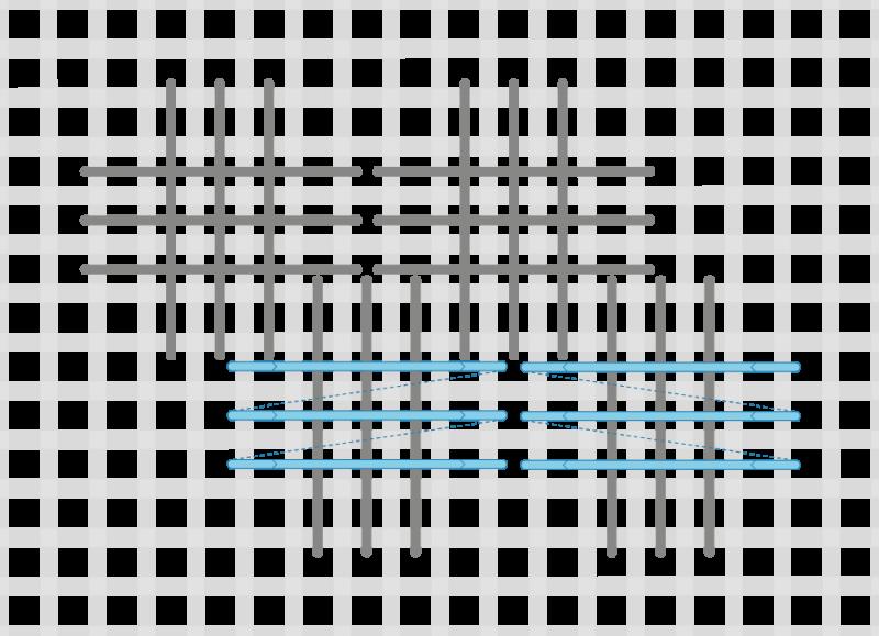 Broad cross stitch method stage 6 illustration