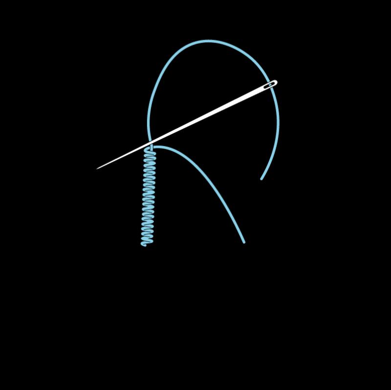 Bullion knot method stage 5 illustration