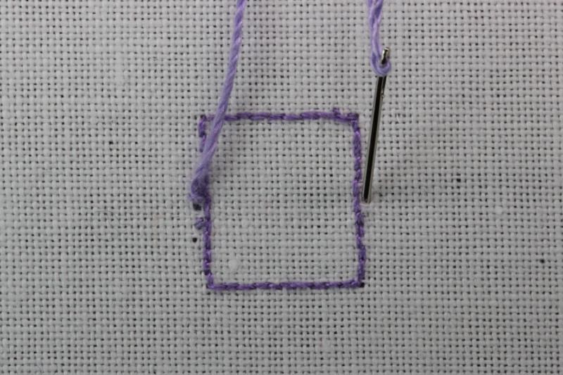 Buttonhole bars (cutwork) method stage 1 photograph
