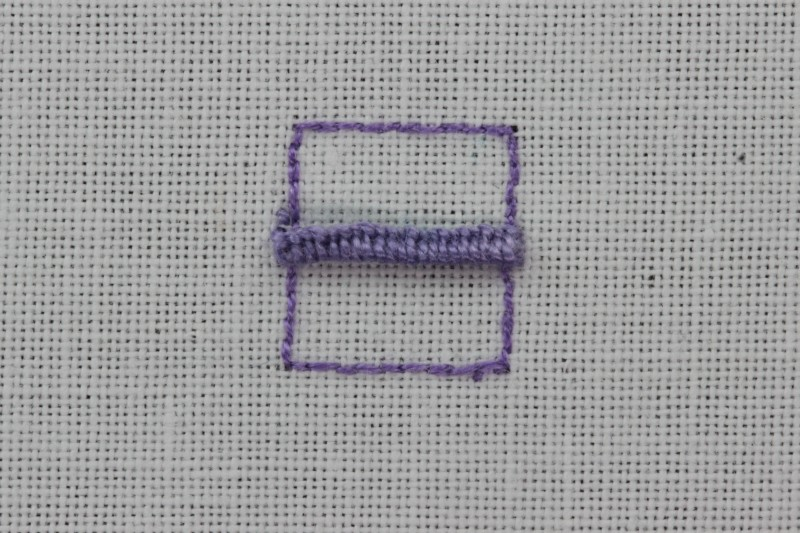Buttonhole bars (cutwork) method stage 4 photograph