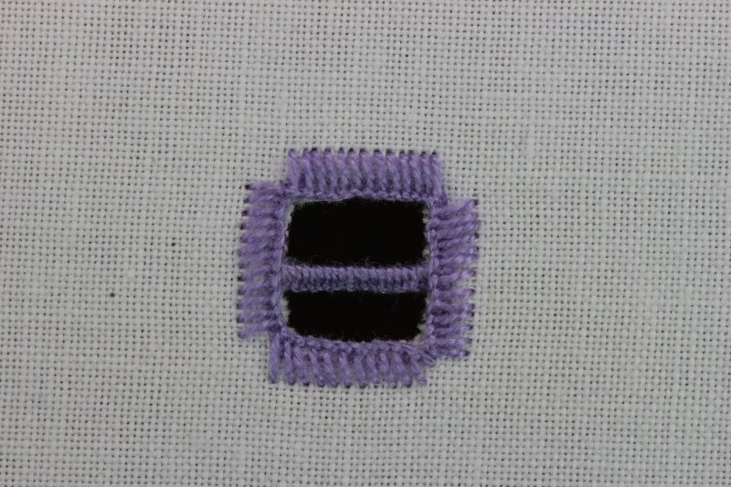 Buttonhole bars (cutwork) method stage 7 photograph