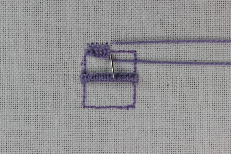 Buttonhole bars (cutwork) method stage 5 photograph