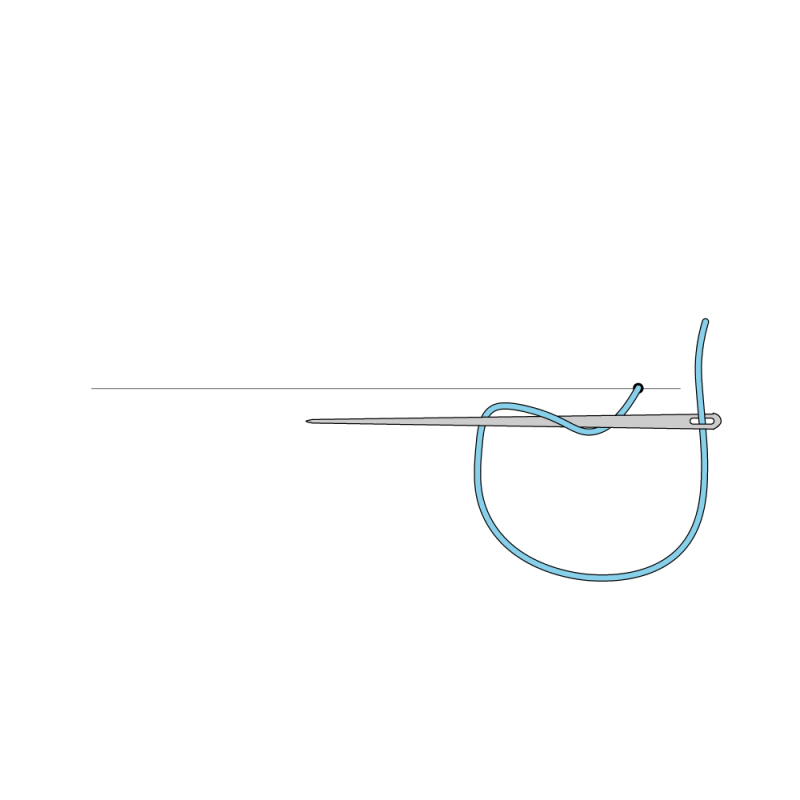 Cable chain stitch method stage 1 illustration