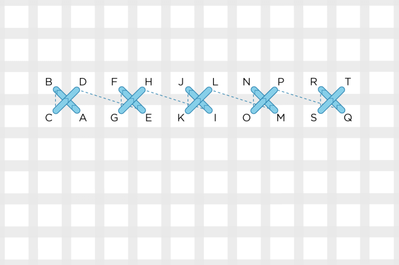 Alternating cross stitch method stage 1 illustration