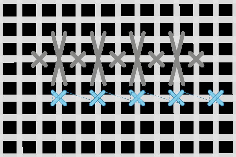 Alternating cross stitch method stage 3 illustration