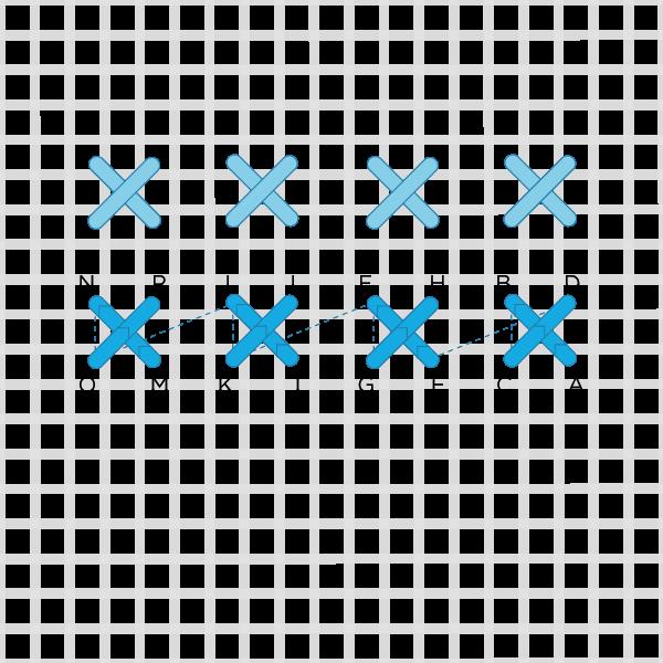 Barred square stitch method stage 2 illustration
