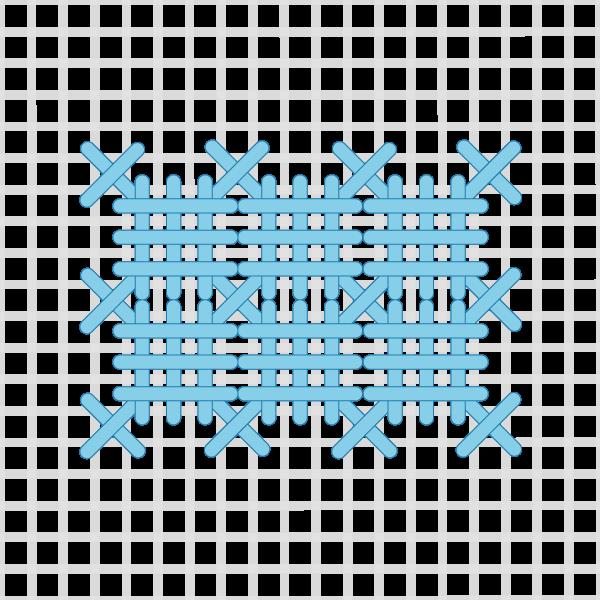 Barred square stitch method stage 5 illustration