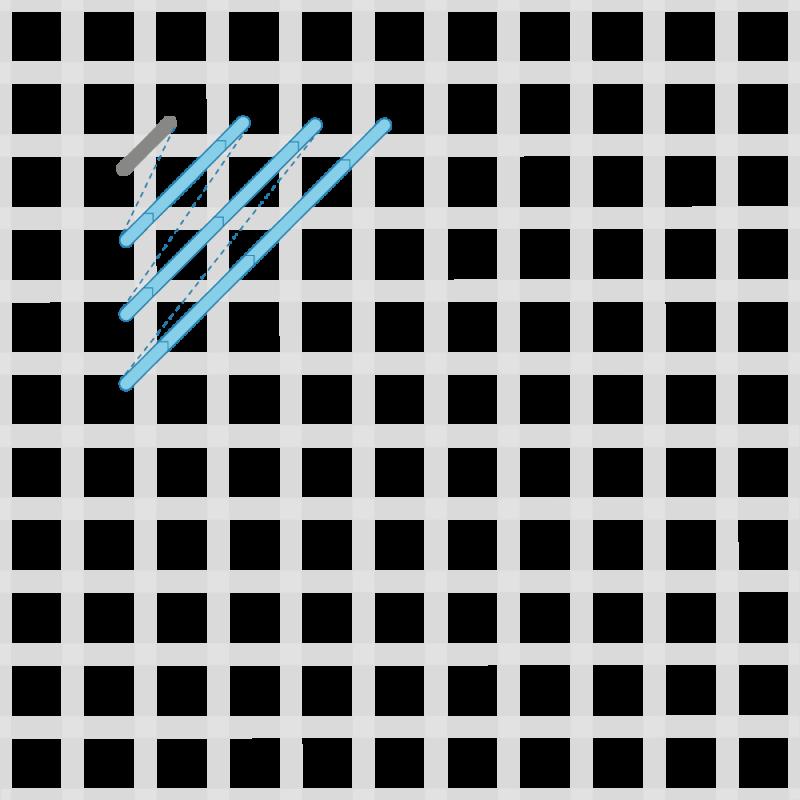 Crossed cushion stitch method stage 2 illustration