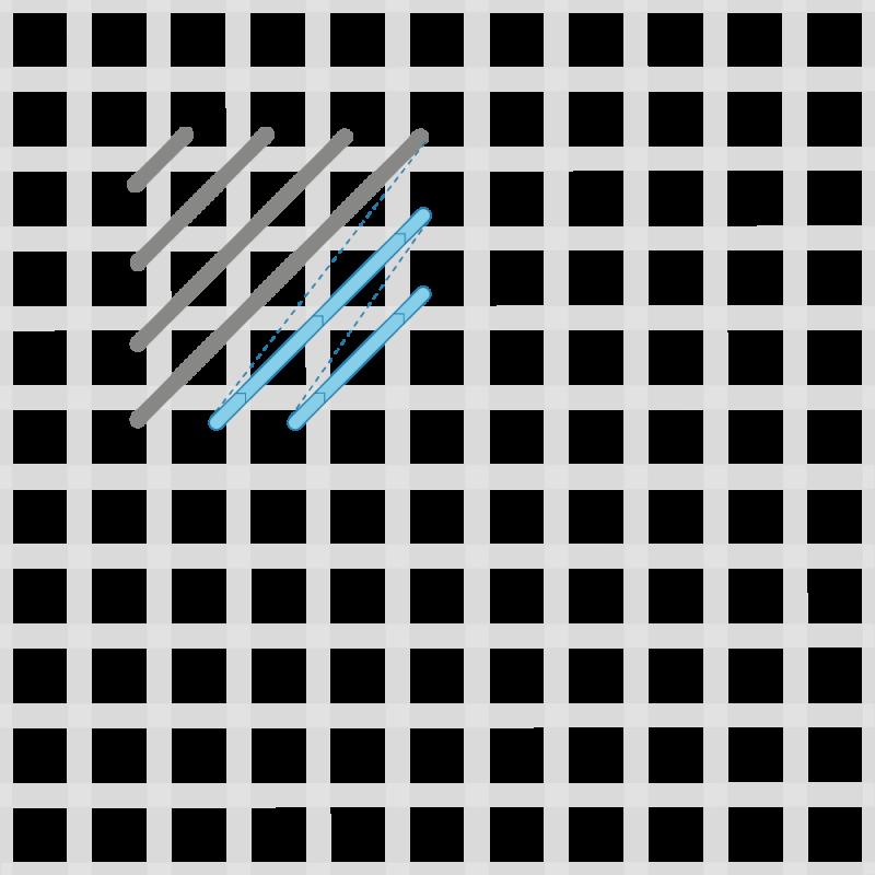 Crossed cushion stitch method stage 3 illustration
