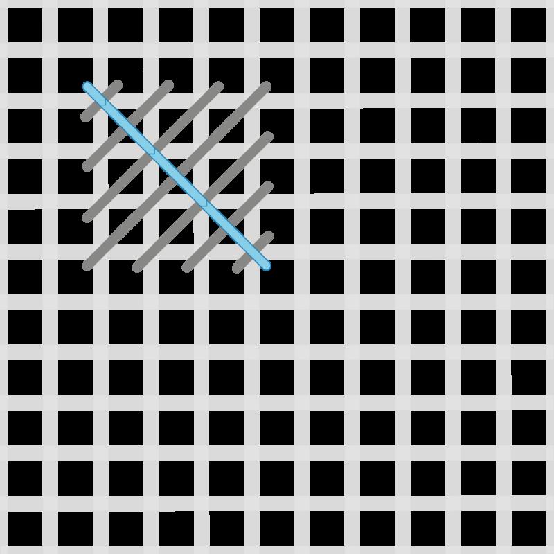 Crossed cushion stitch method stage 5 illustration