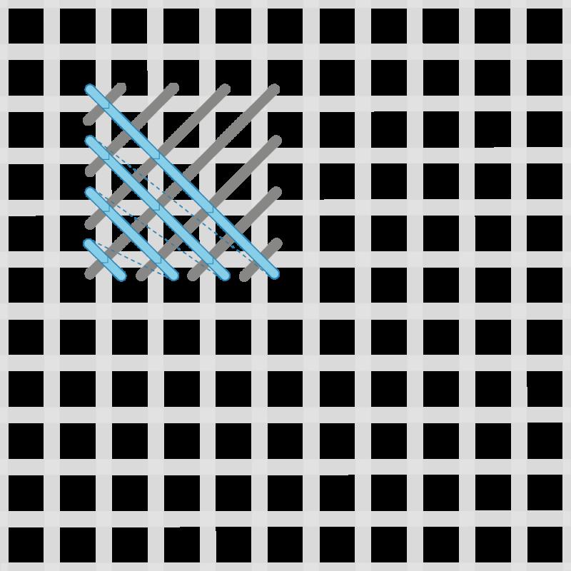 Crossed cushion stitch method stage 6 illustration