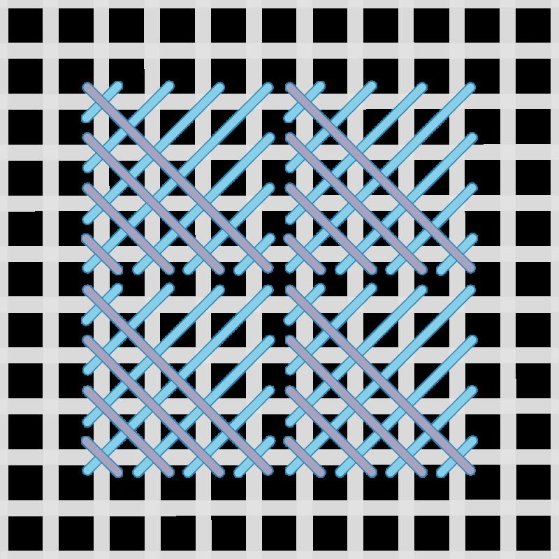 Crossed cushion stitch method stage 7 illustration