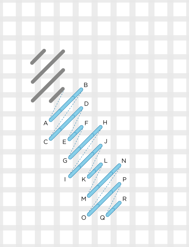 Diagonal cashmere stitch method stage 5 illustration