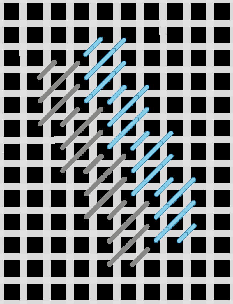 Diagonal cashmere stitch method stage 6 illustration