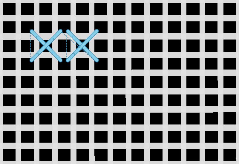 Double linked cross stitch method stage 1 illustration