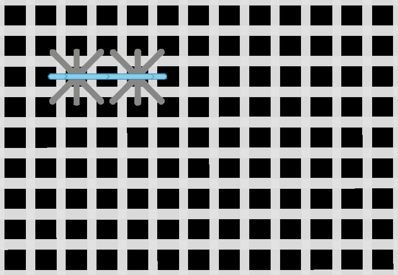 Double linked cross stitch method stage 3 illustration