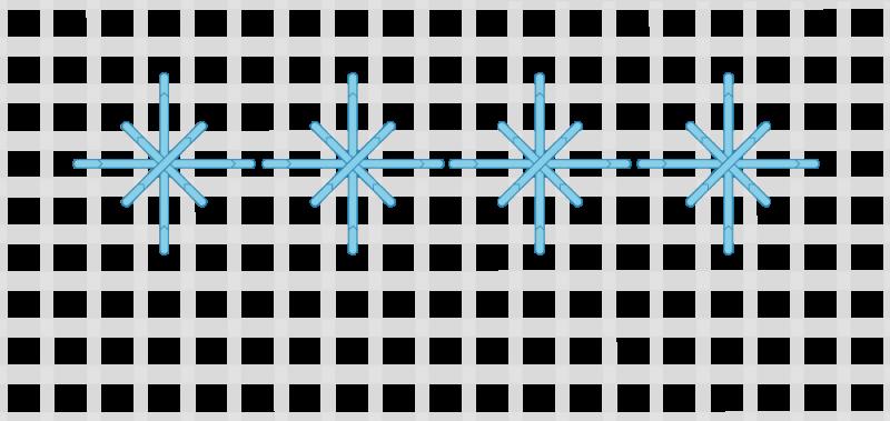Double straight cross stitch method stage 5 illustration