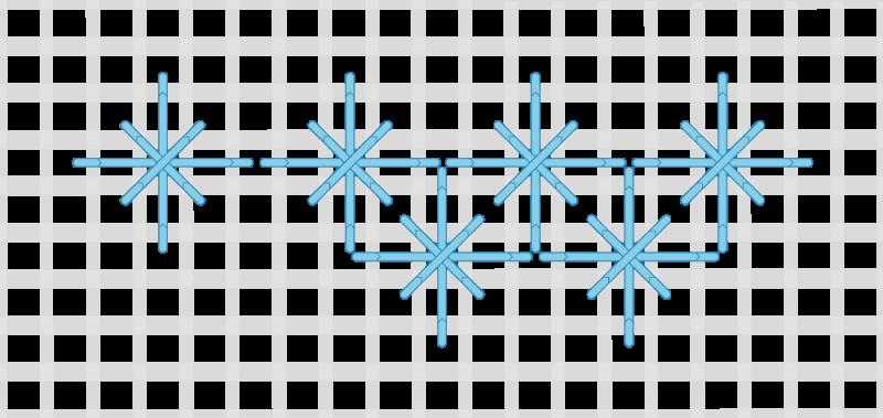 Double straight cross stitch method stage 6 illustration