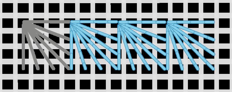 Fan stitch method stage 4 illustration