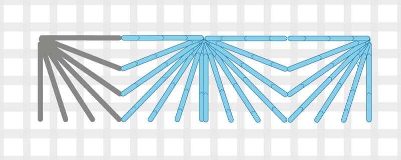 Fan stitch method stage 5 illustration
