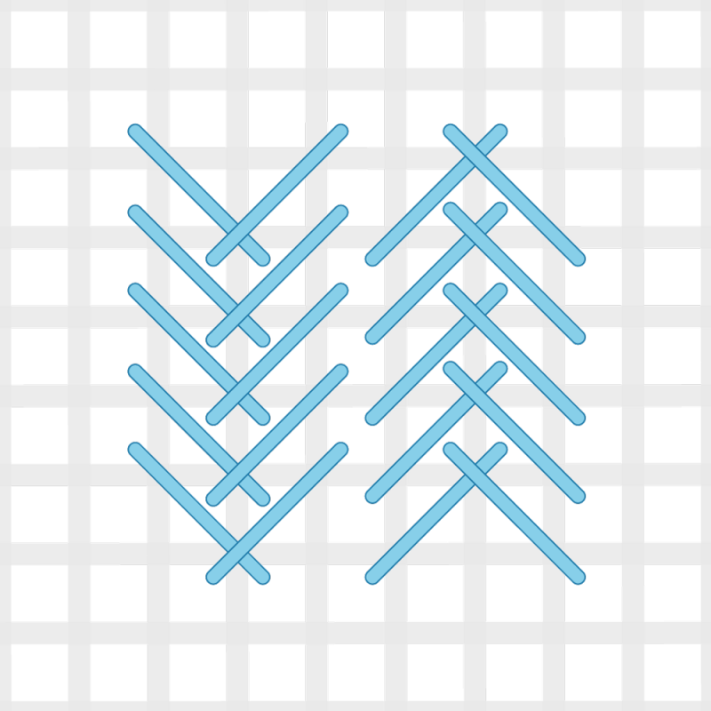 Fern stitch (canvaswork) method stage 6 illustration