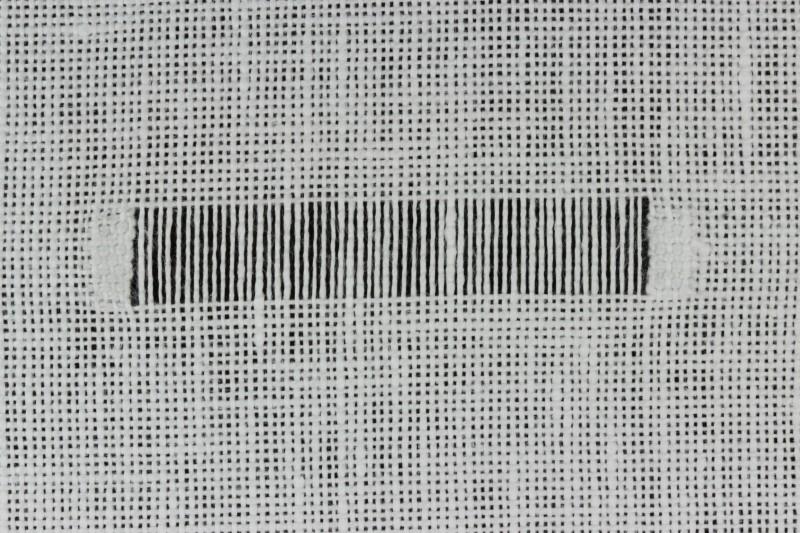 Chain stitch (drawn thread) method stage 1 photograph