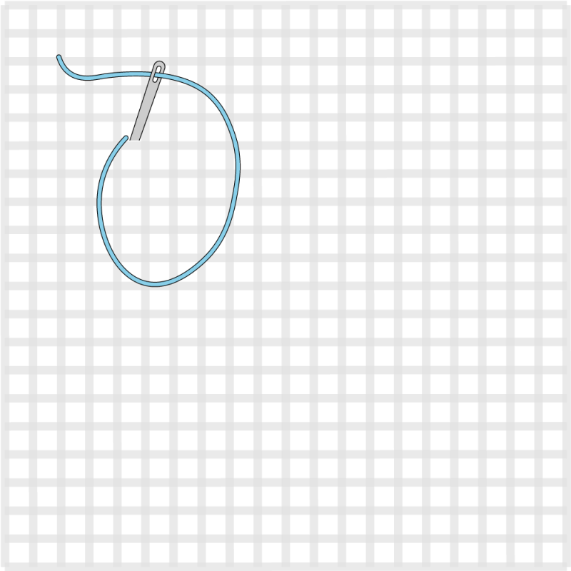 Chain stitch (canvaswork) method stage 1 illustration