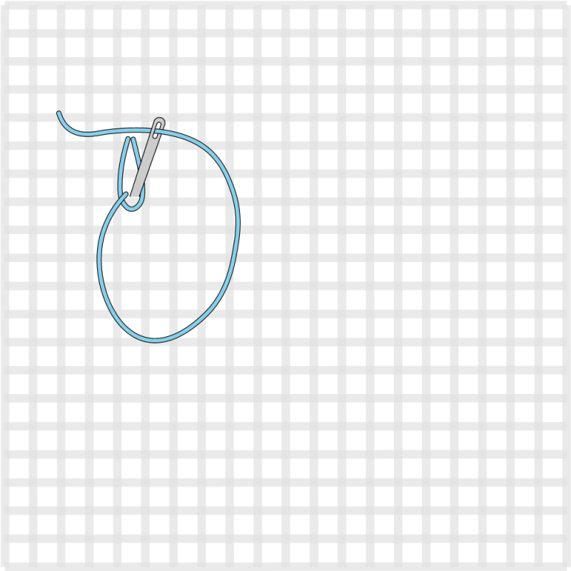 Chain stitch (canvaswork) method stage 3 illustration
