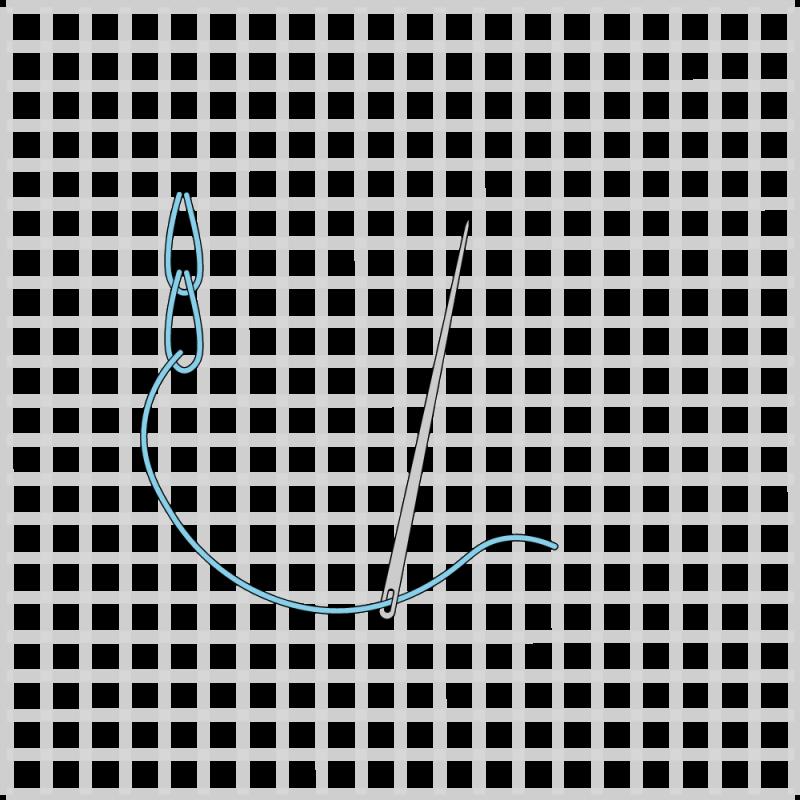 Chain stitch (canvaswork) method stage 4 illustration