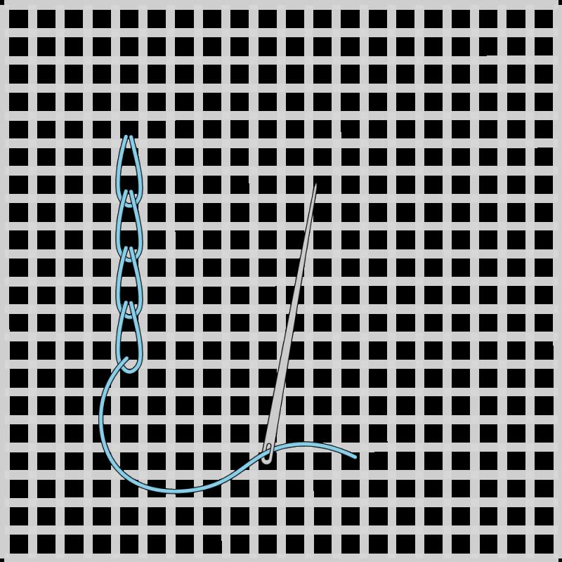 Chain stitch (canvaswork) method stage 5 illustration
