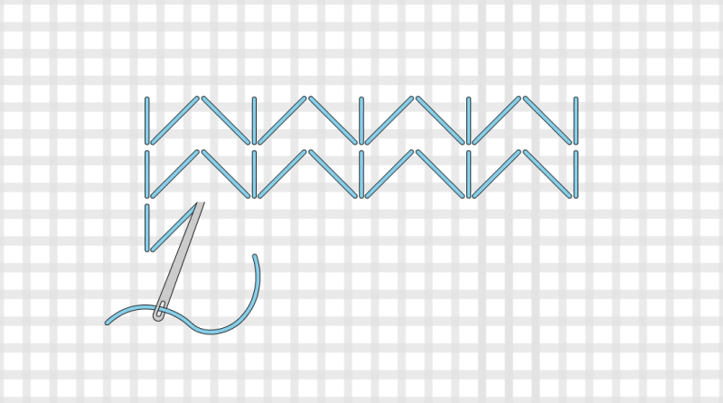 Chevron (pattern) method stage 3 illustration