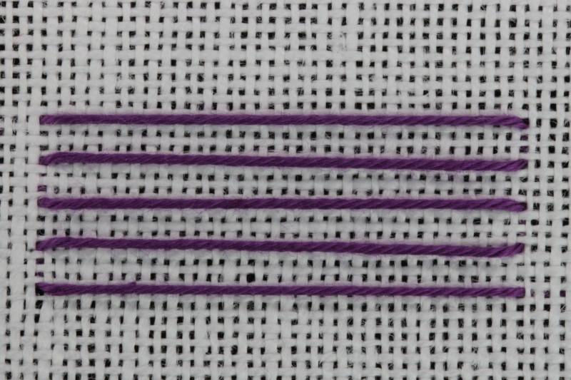 Chevron stem stitch method stage 1 photograph