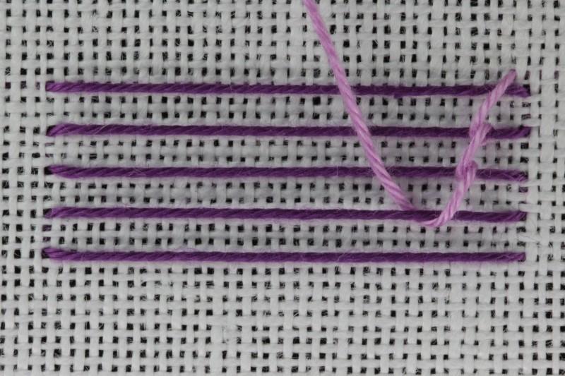 Chevron stem stitch method stage 4 photograph