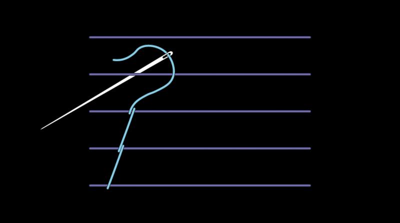 Chevron stem stitch method stage 3 illustration