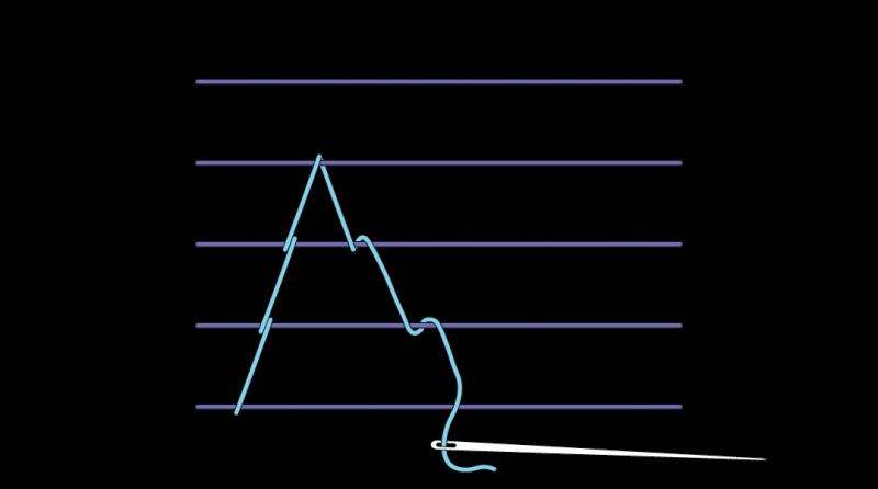 Chevron stem stitch method stage 6 illustration