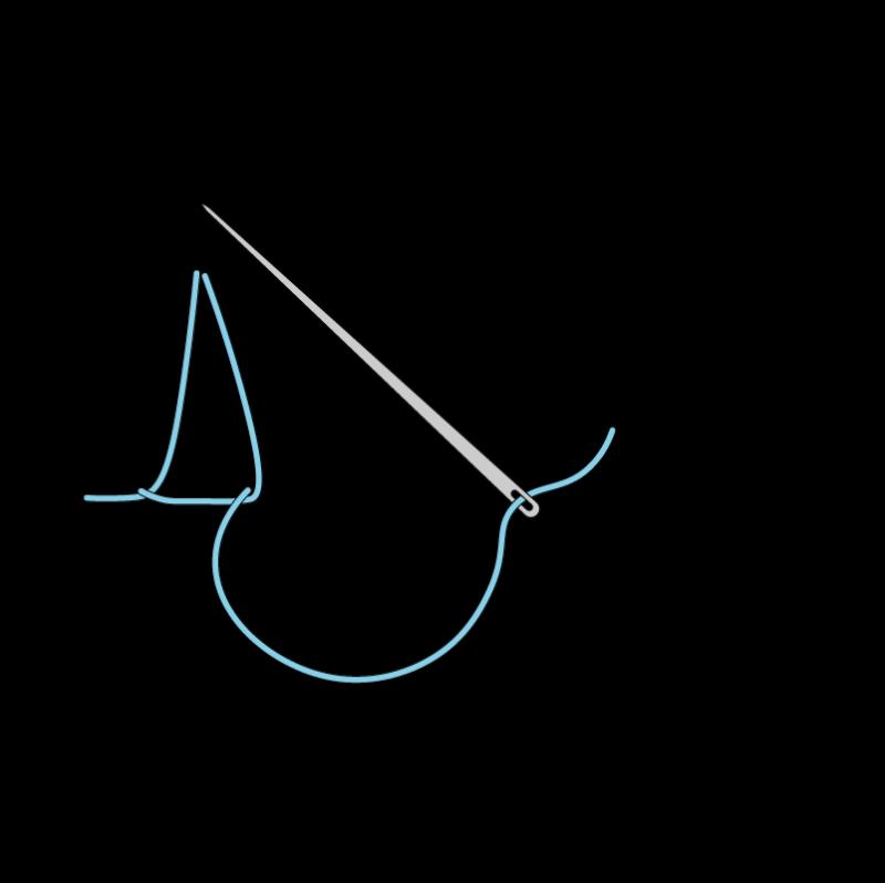 Closed buttonhole stitch method stage 5 illustration