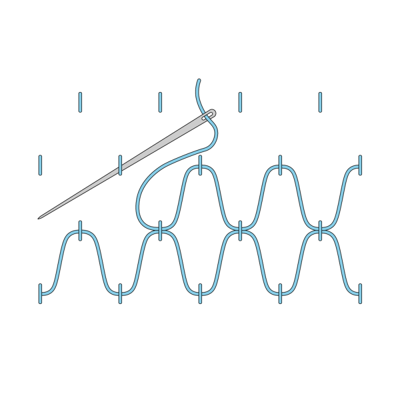 Cloud filling stitch method stage 3 illustration